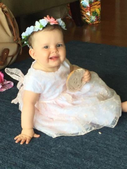 Sonya last week as a flower girl at her Aunt Mariana's wedding